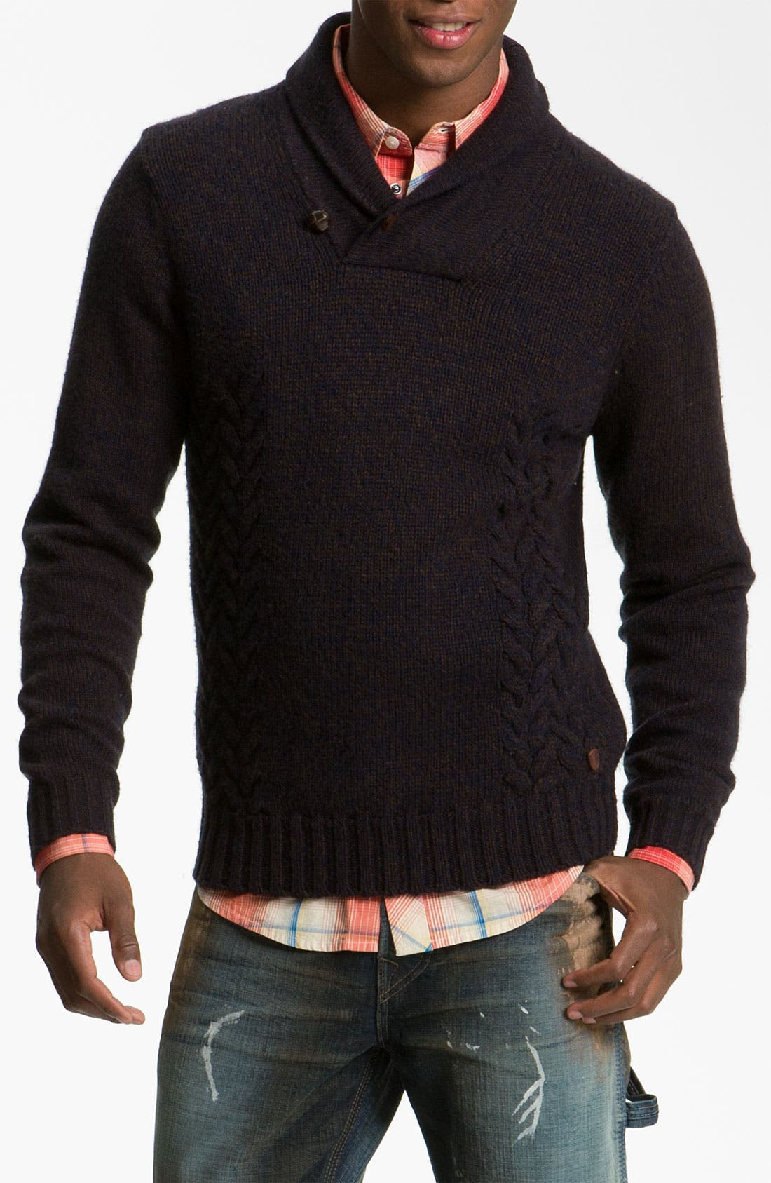 Main Image - PLECTRUM by Ben Sherman Cable Knit Shawl Collar Sweater