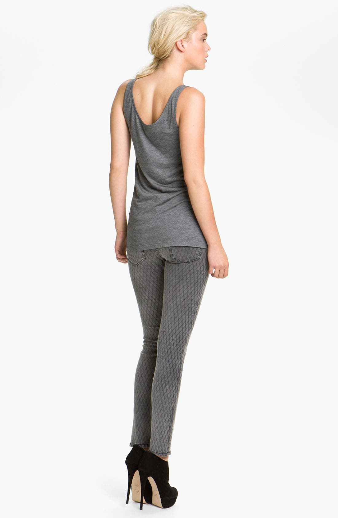 Alternate Image 5  - Current/Elliott Print Stretch Skinny Jeans (Fishnet)