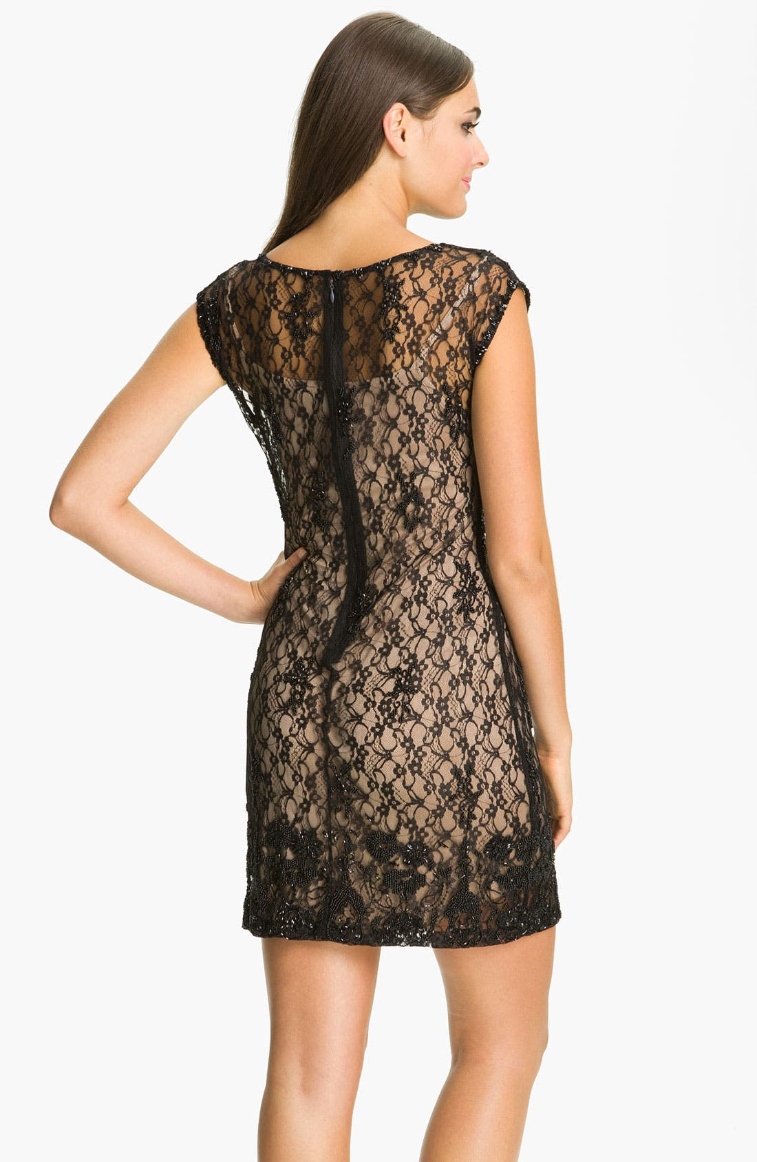 Alternate Image 2  - Aidan Mattox Cap Sleeve Lace Overlay Slip Dress