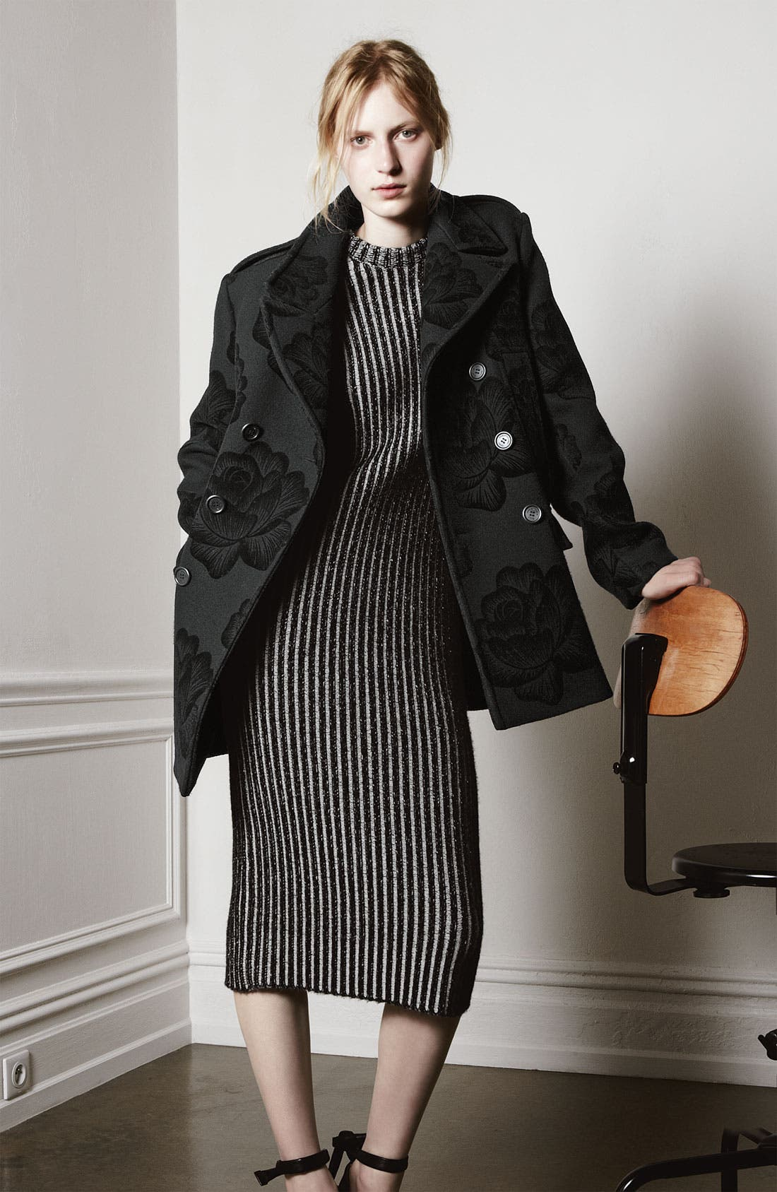 Alternate Image 6  - Christopher Kane Rose Flock Wool Blend Peacoat