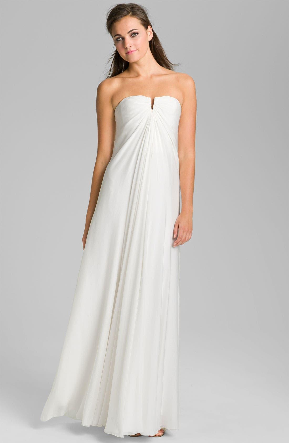 Main Image - Nicole Miller Strapless Silk Chiffon Gown