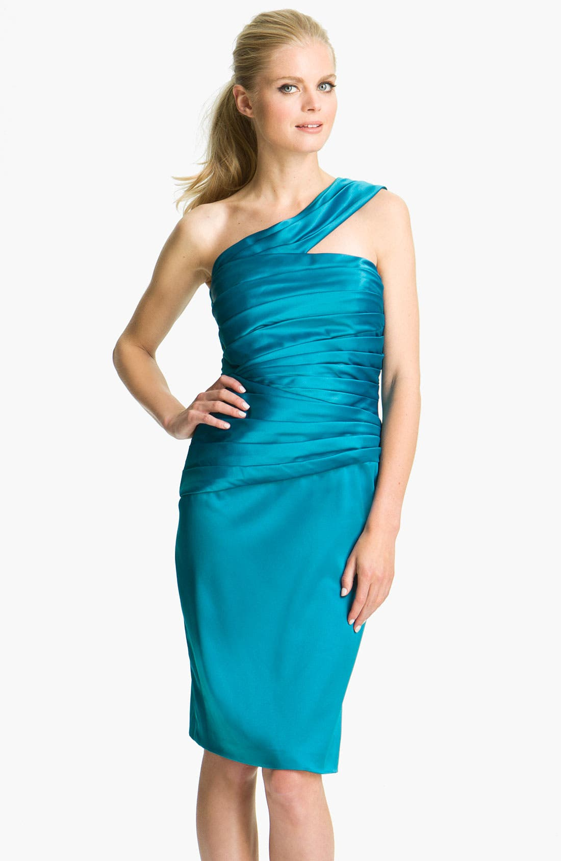 Alternate Image 1 Selected - ML Monique Lhuillier Bridesmaids One Shoulder Satin Dress (Nordstrom Exclusive)