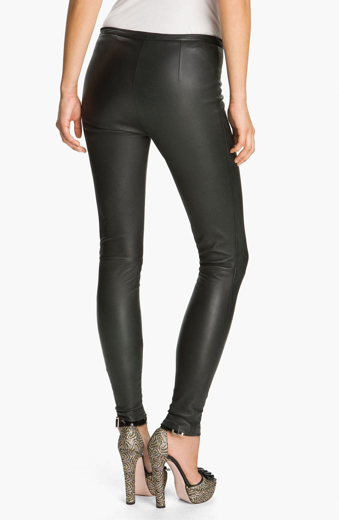 Alternate Image 2  - RED Valentino Stretch Leather Leggings
