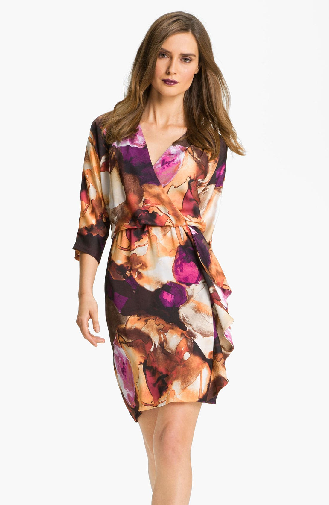 Main Image - Donna Ricco Surplice Ruffle Detail Crêpe de Chine Dress
