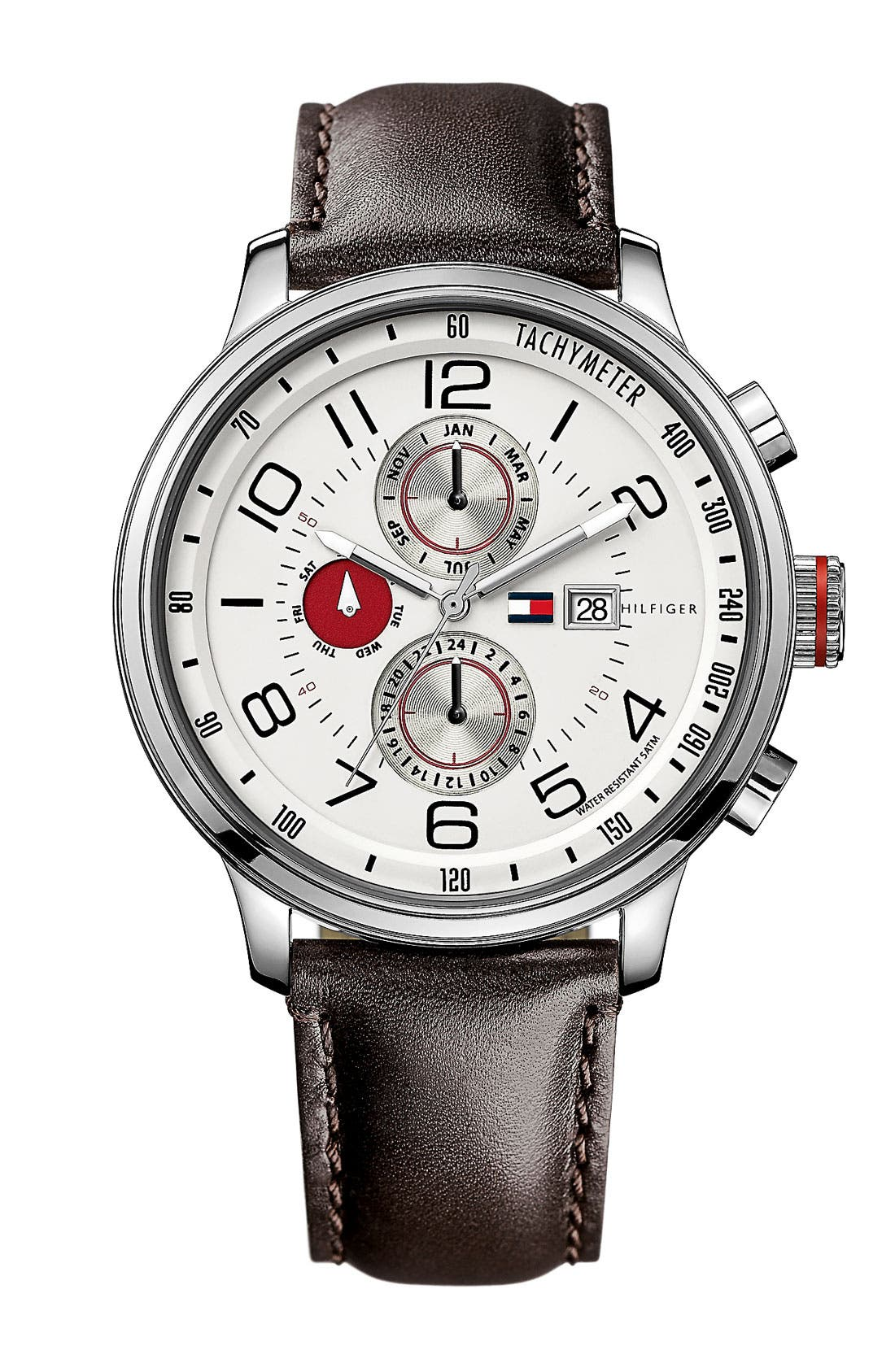Main Image - Tommy Hilfiger Chronograph Leather Strap Watch, 44mm