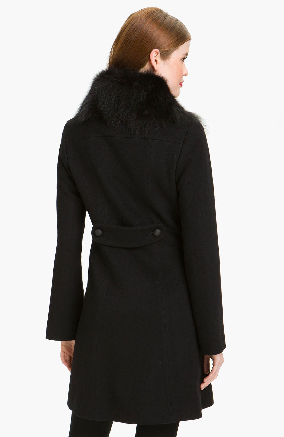 Alternate Image 2  - Fleurette Loro Piana Wool Coat with Genuine Fox Fur (Online Exclusive)