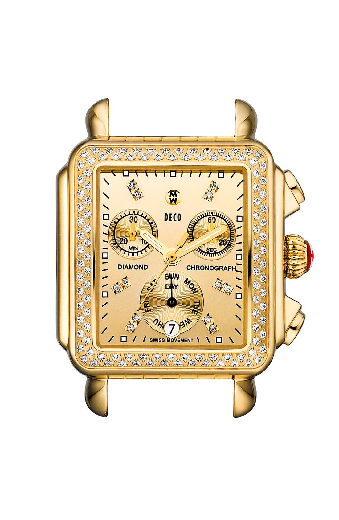 Alternate Image 1 Selected - MICHELE 'Deco Diamond' Diamond Dial High Shine Gold Watch Case