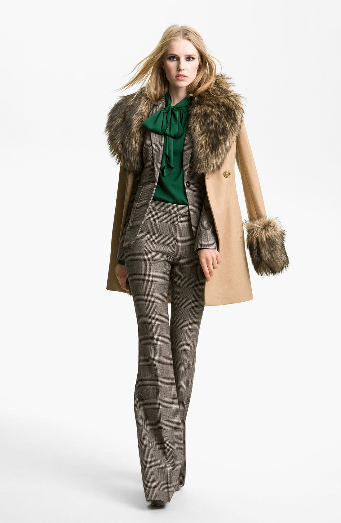 Alternate Image 1 Selected - Rachel Zoe 'Trish' Faux Fur Trim Peacoat