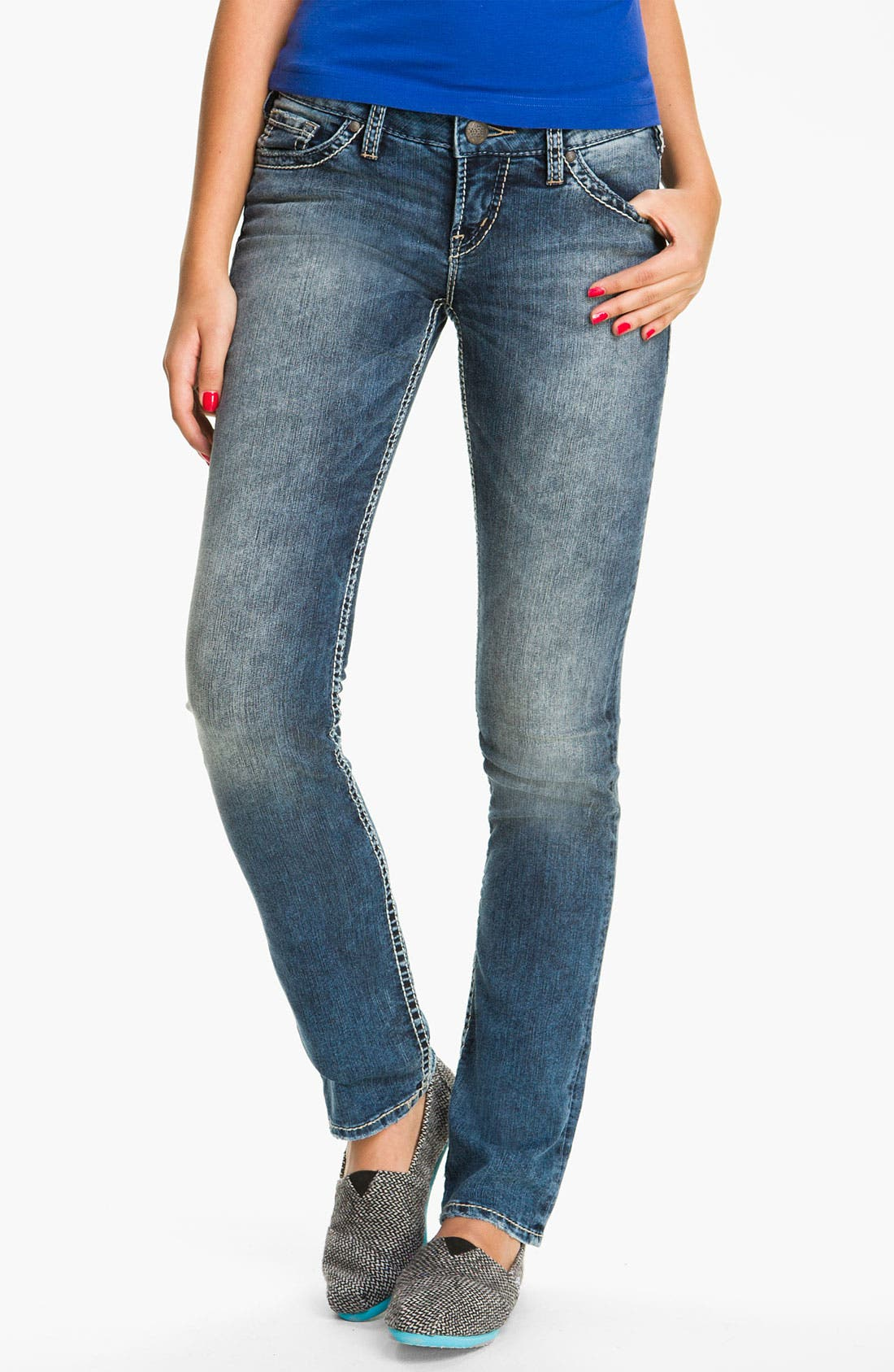 Alternate Image 2  - Silver Jeans Co. 'Berkeley' Straight Leg Jeans (Juniors)