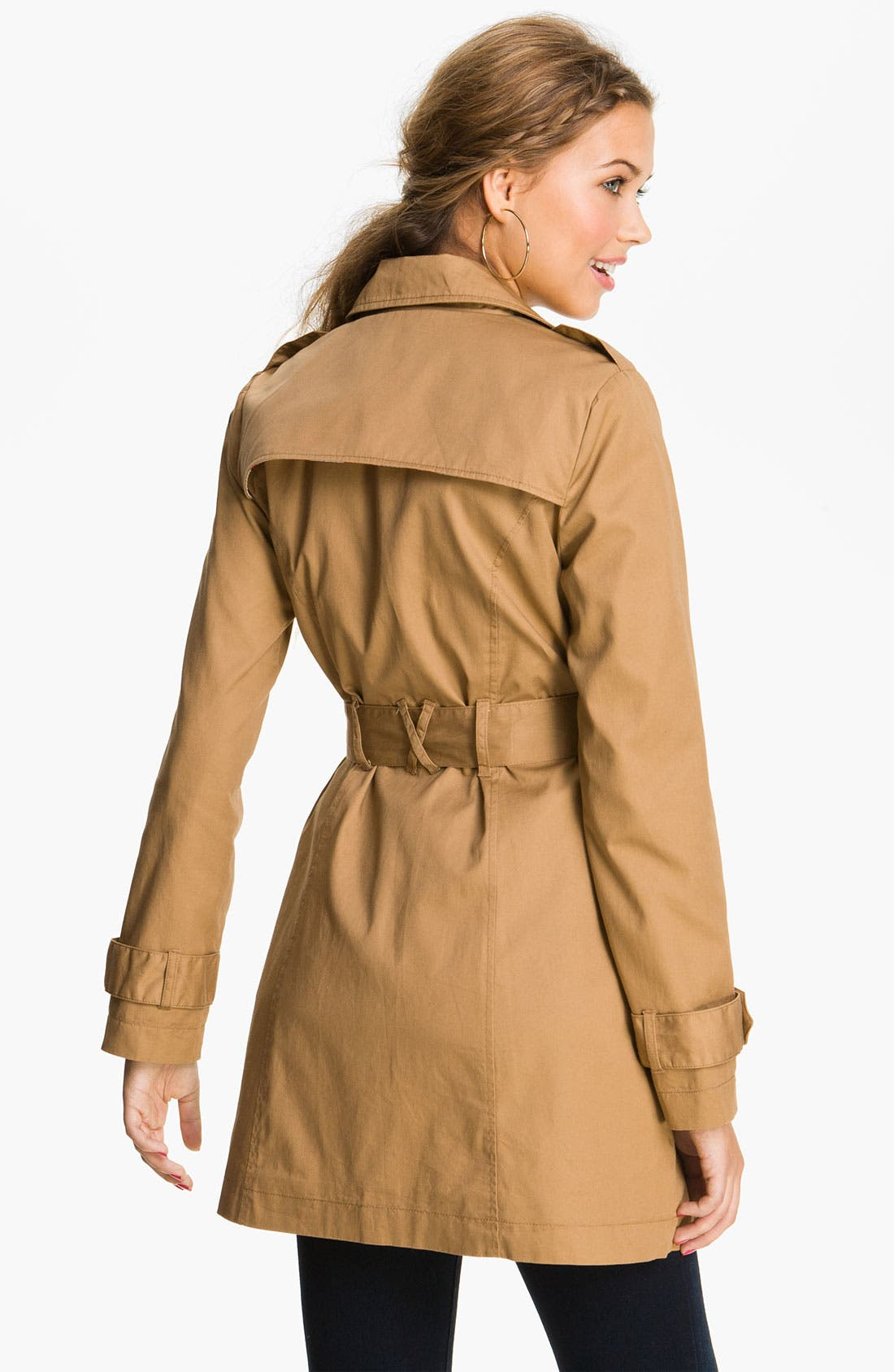 Alternate Image 2  - Tulle Twill Trench Coat (Juniors)