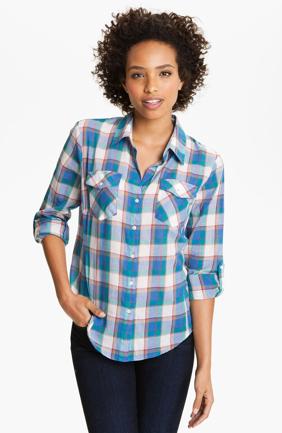 Main Image - Sandra Ingrish Roll Sleeve Paid Shirt