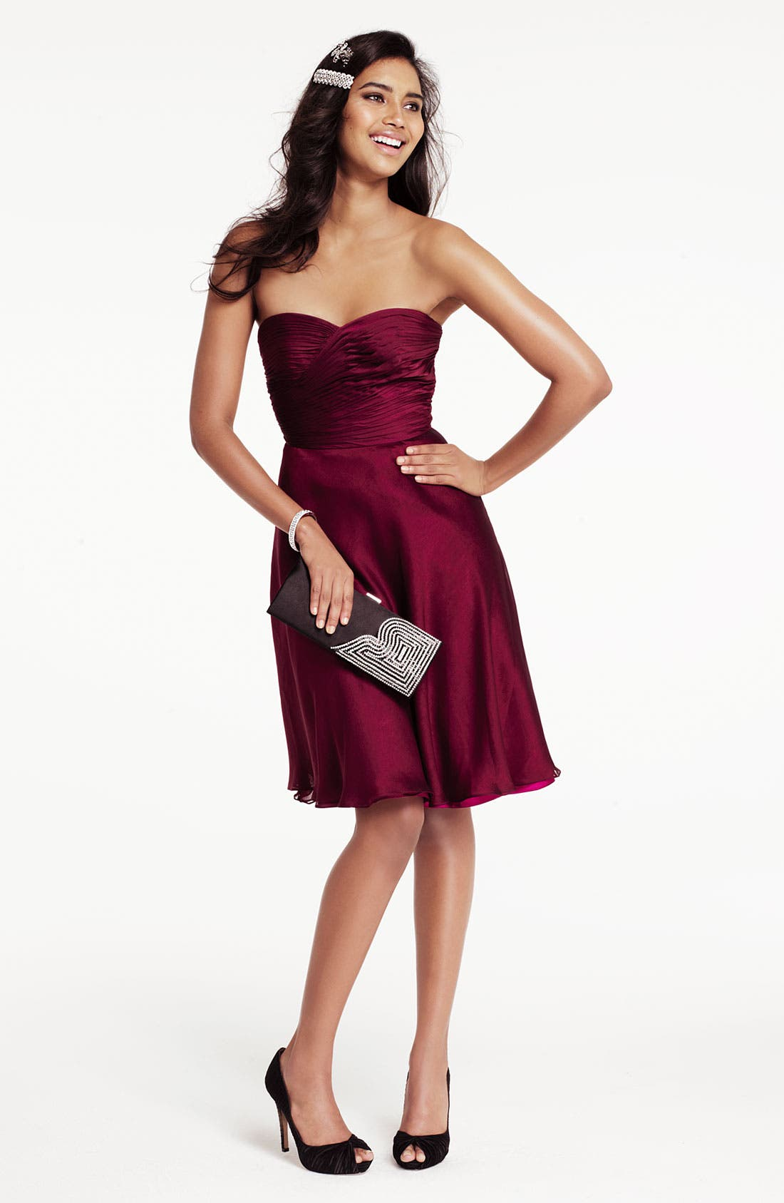 Alternate Image 4  - ML Monique Lhuillier Bridesmaids Pleated Chiffon Sweetheart Dress (Nordstrom Exclusive)