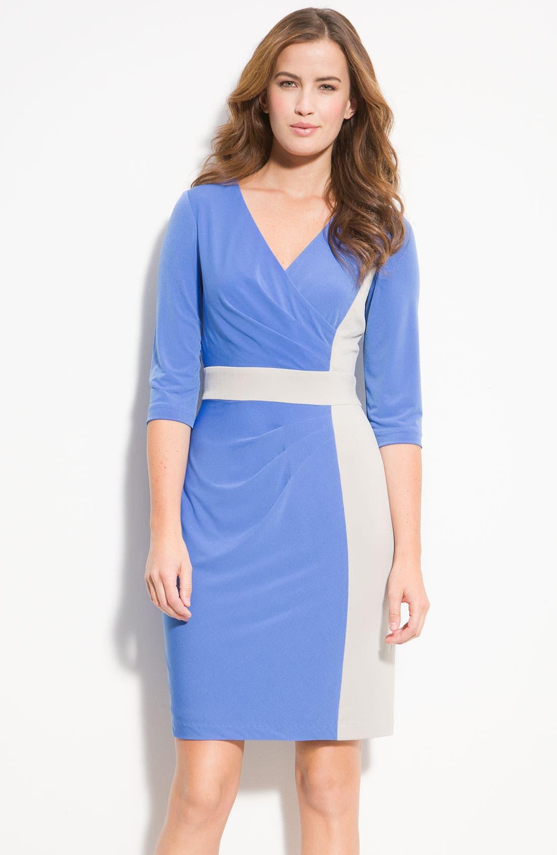 Main Image - Donna Ricco Colorblock Surplice Jersey Dress (Petite)