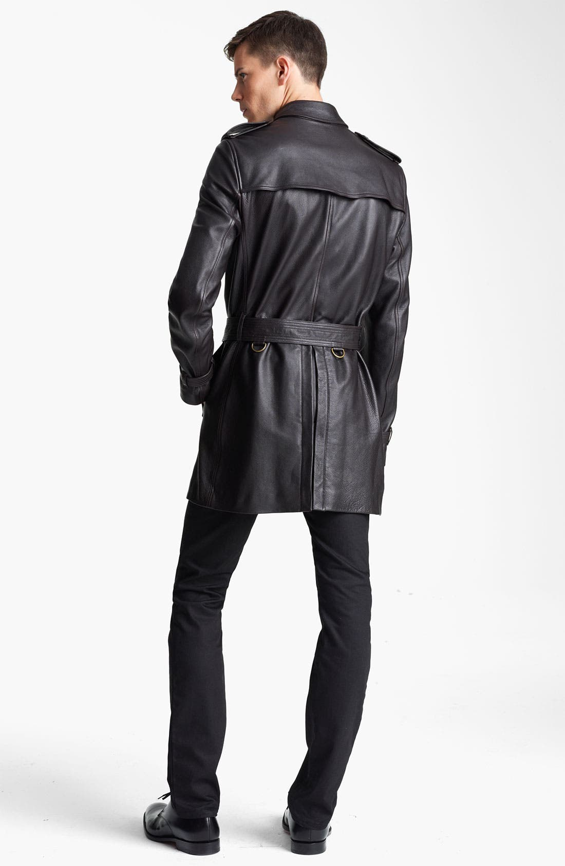Alternate Image 4  - Burberry London Belted Leather Trench Coat