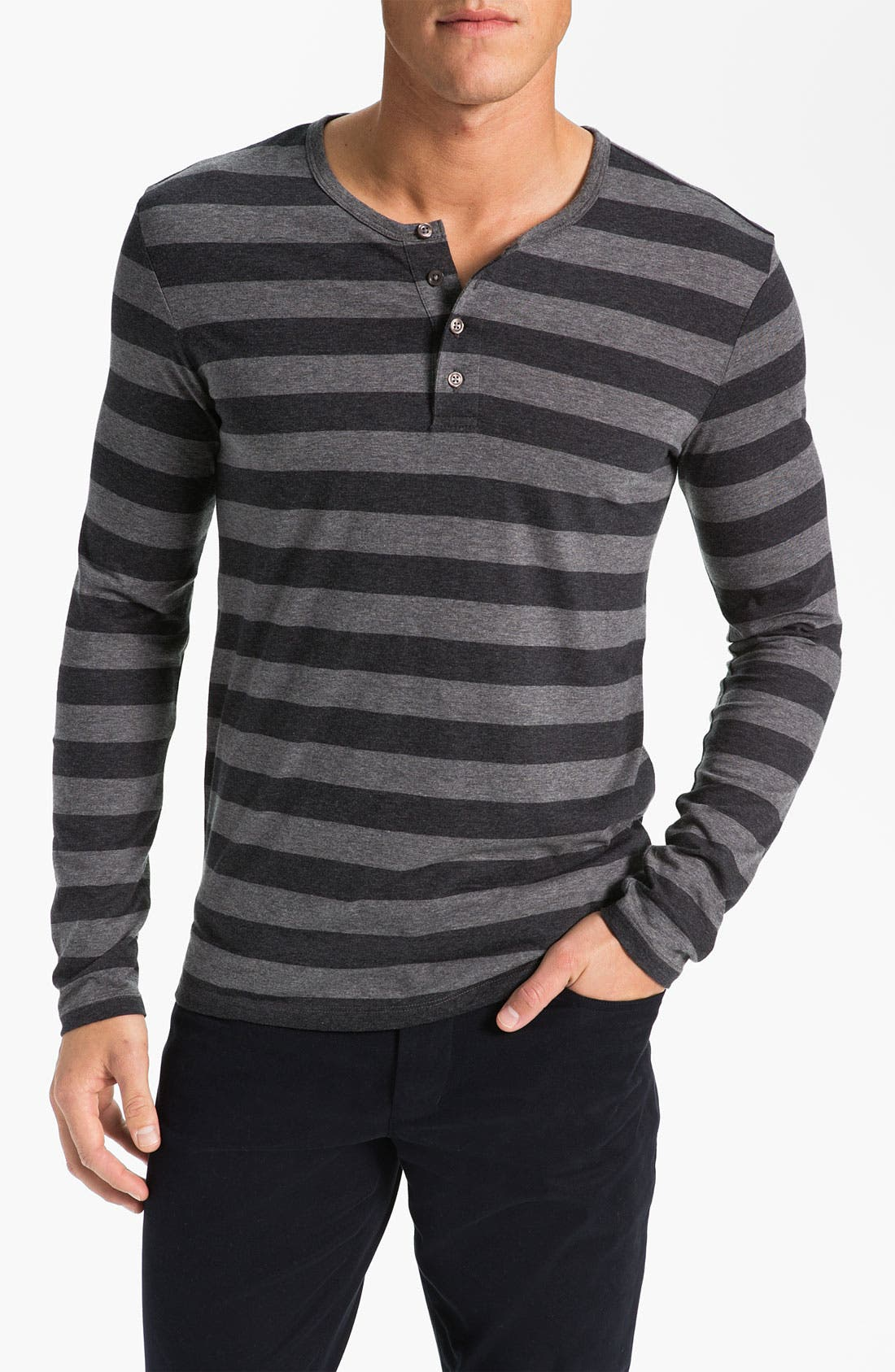 Alternate Image 1 Selected - Vince Stripe Pima Cotton Henley