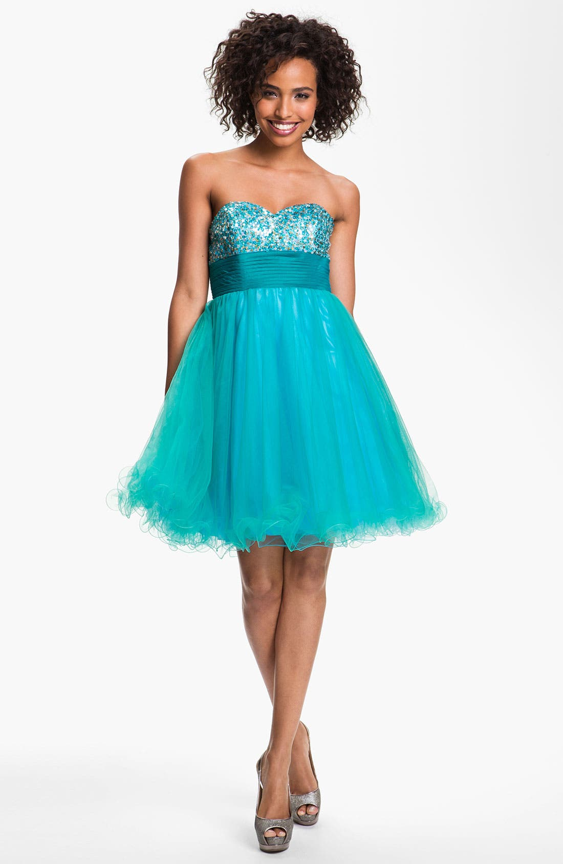 Main Image - Sean Collection Sequin & Tulle Sweetheart Dress