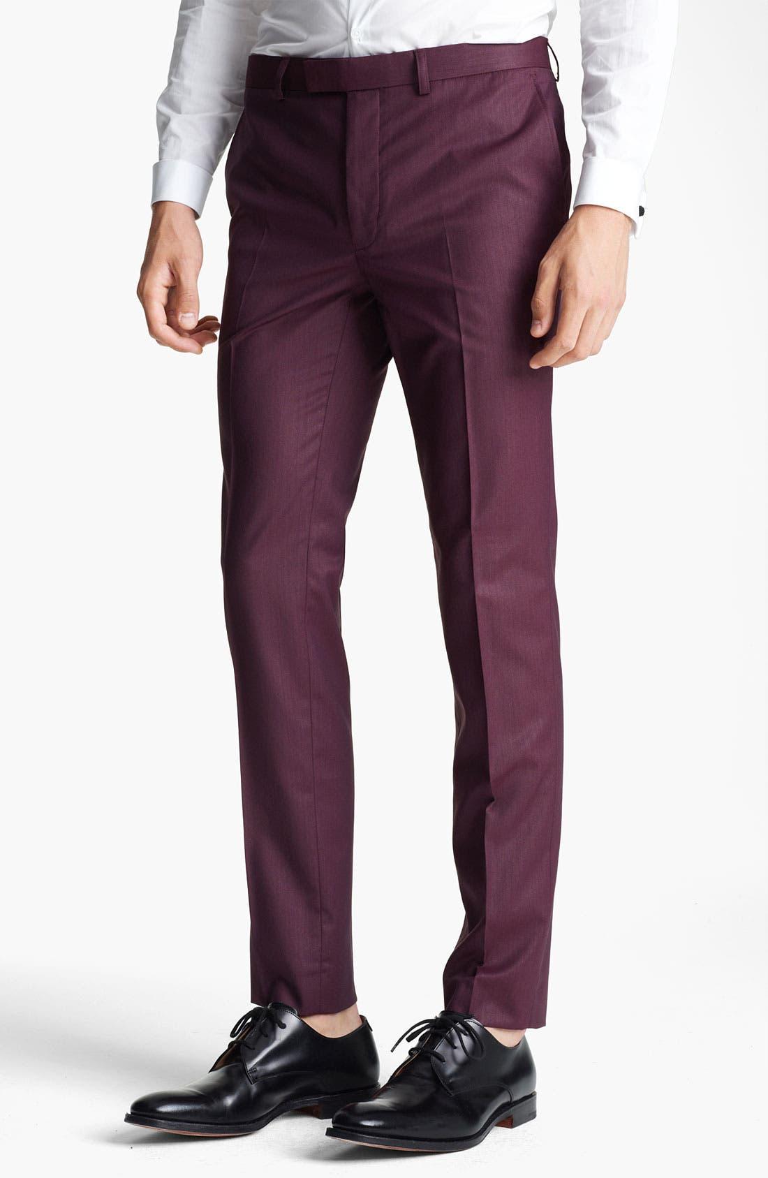 Alternate Image 1 Selected - Topman 'Liquid' Skinny Trousers