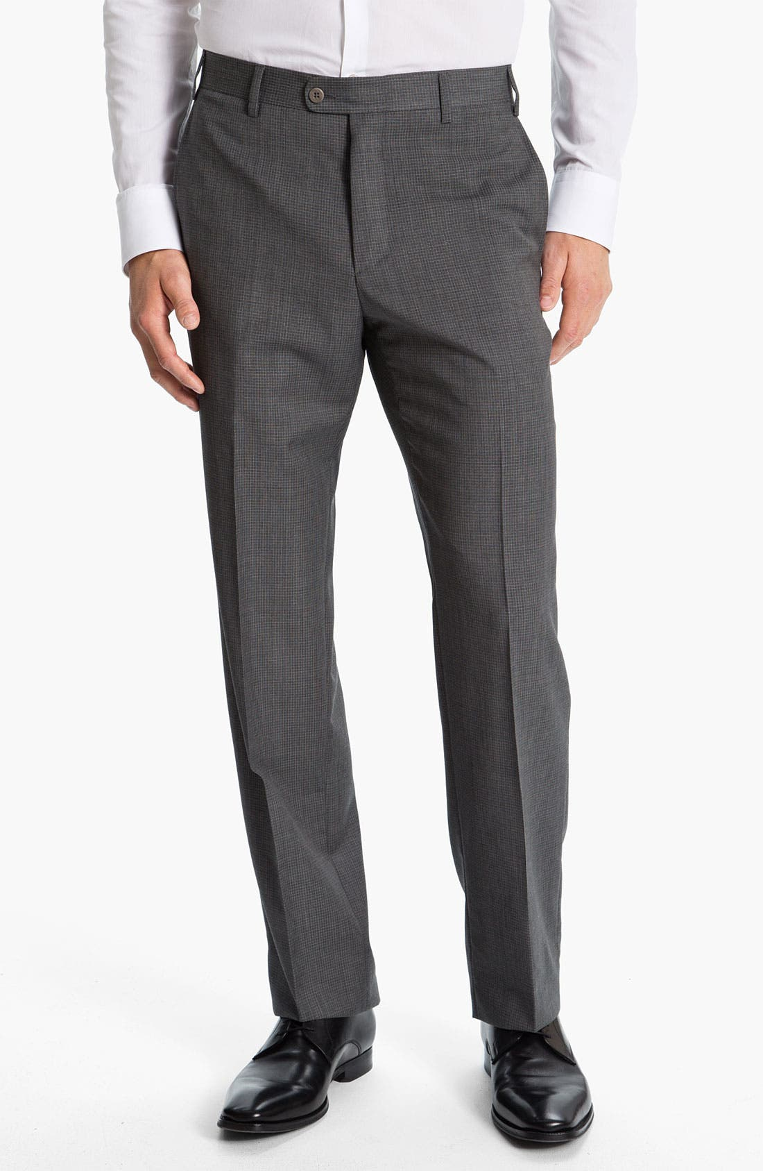 Alternate Image 1 Selected - Zanella 'Todd' Flat Front Check Trousers
