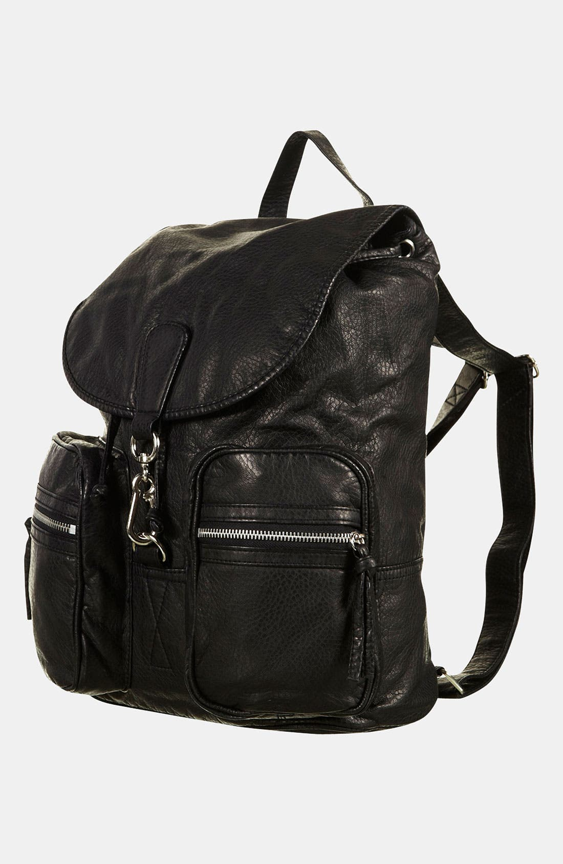 Main Image - Topshop Washed Faux Leather Backpack