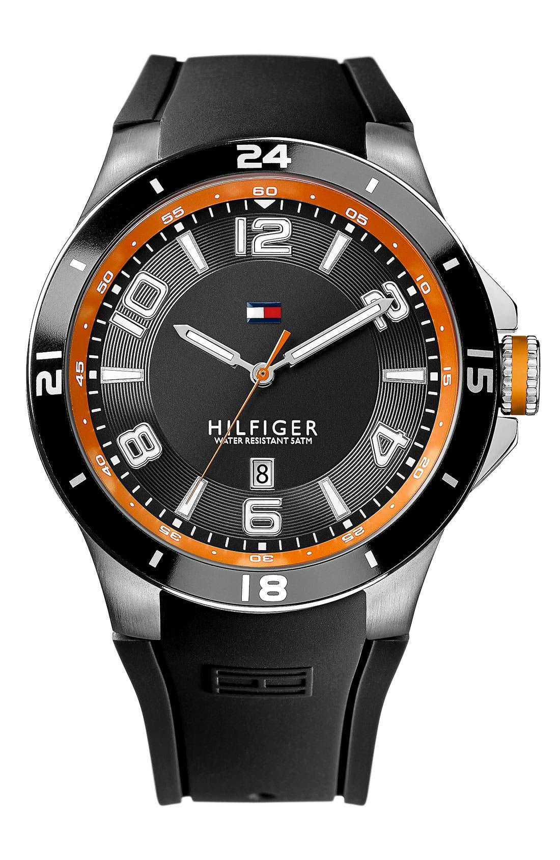 Main Image - Tommy Hilfiger Round Silicone Strap Watch, 44mm