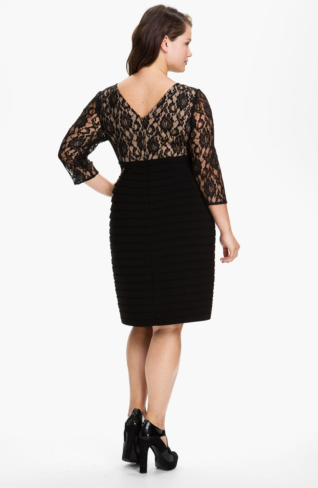 Alternate Image 2  - Adrianna Papell Lace Bodice Banded Sheath Dress (Plus Size)