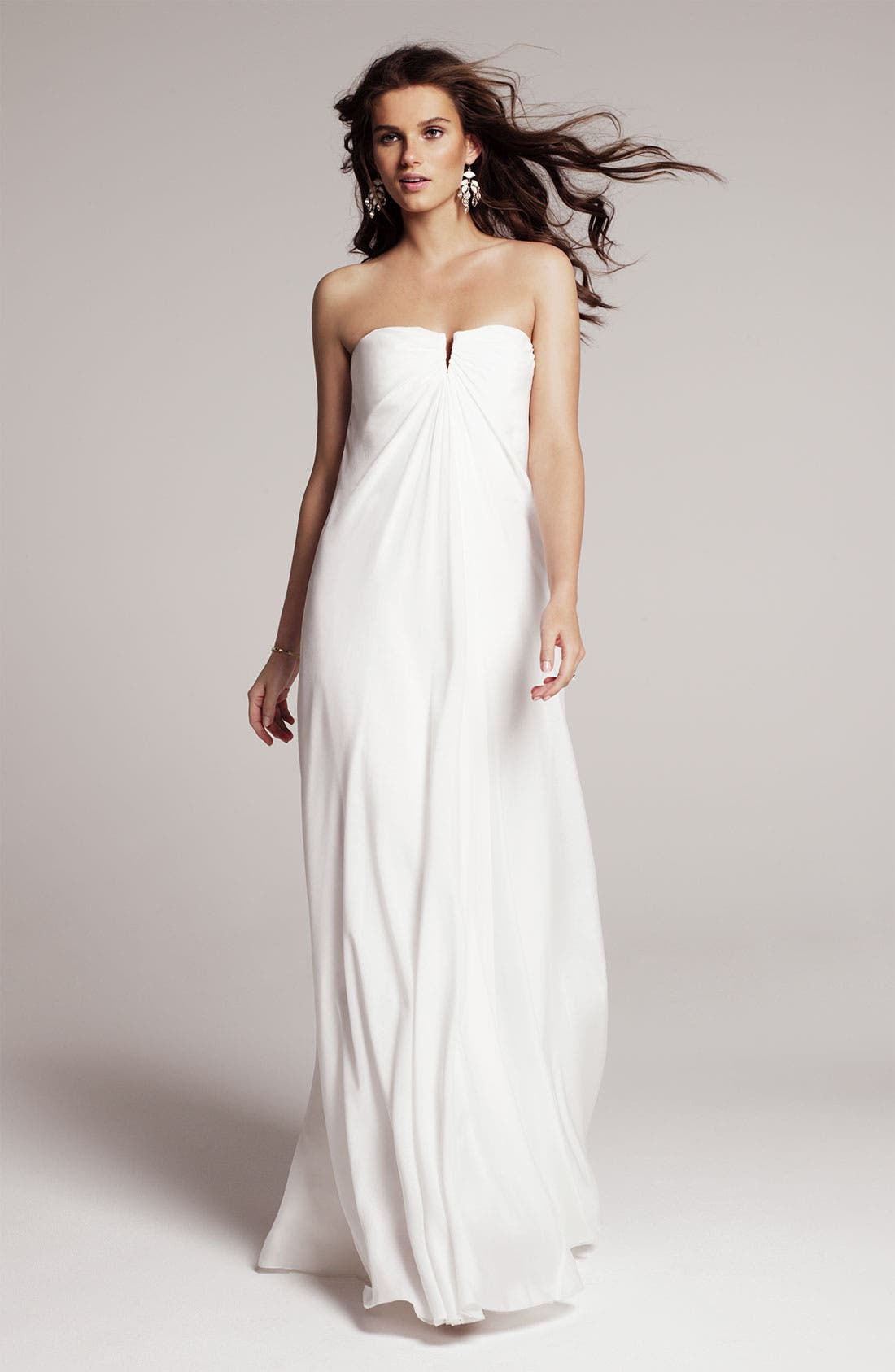 Alternate Image 4  - Nicole Miller Strapless Silk Chiffon Gown