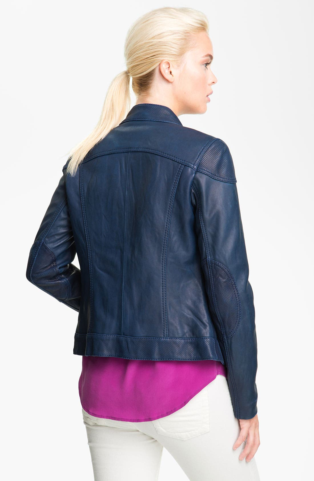 Alternate Image 2  - MICHAEL Michael Kors Perforated Trim Leather Scuba Jacket