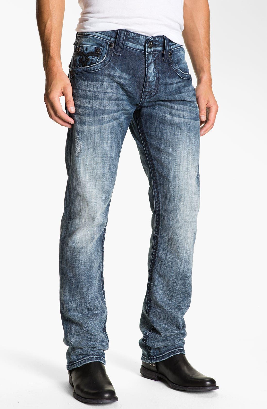 Alternate Image 2  - Rock Revival 'Larry Alternative' Straight Leg Jeans (Medium Blue)