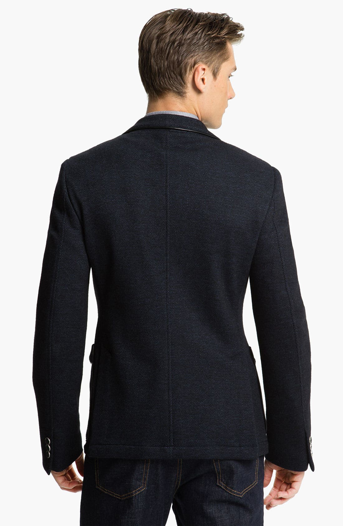 Alternate Image 2  - Versace Trim Fit Leather Trim Blazer