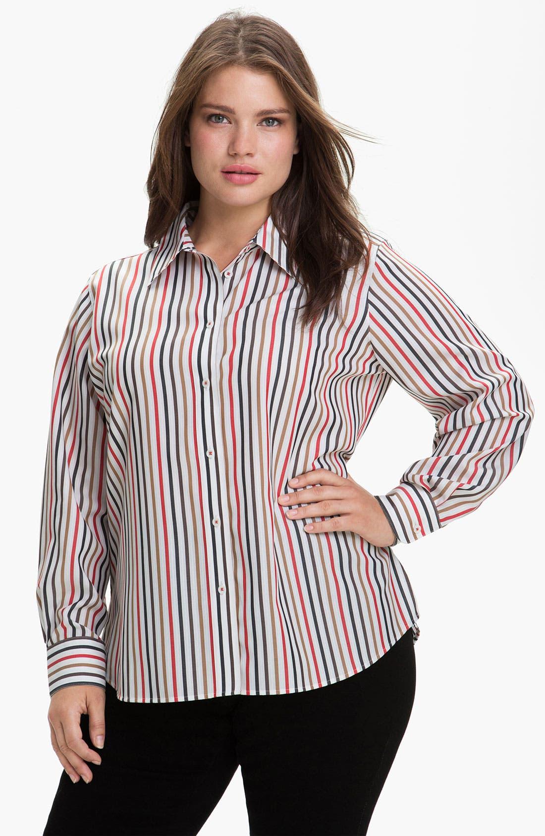 Main Image - Foxcroft 'Autumn Stripe' Wrinkle Free Shaped Shirt (Plus)