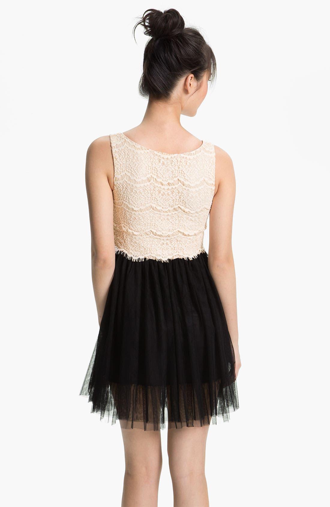 Alternate Image 2  - As U Wish Lace & Tulle Dress (Juniors)