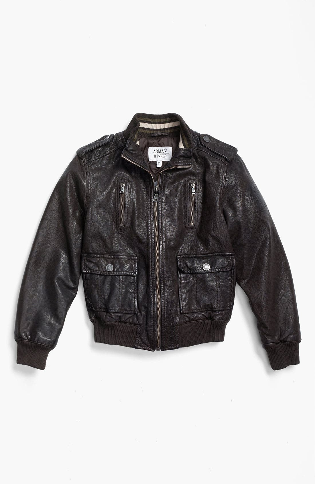 Main Image - Armani Junior Leather Jacket (Big Boys)