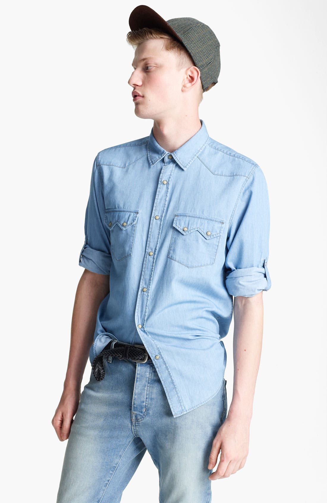 Main Image - Topman Denim Western Shirt