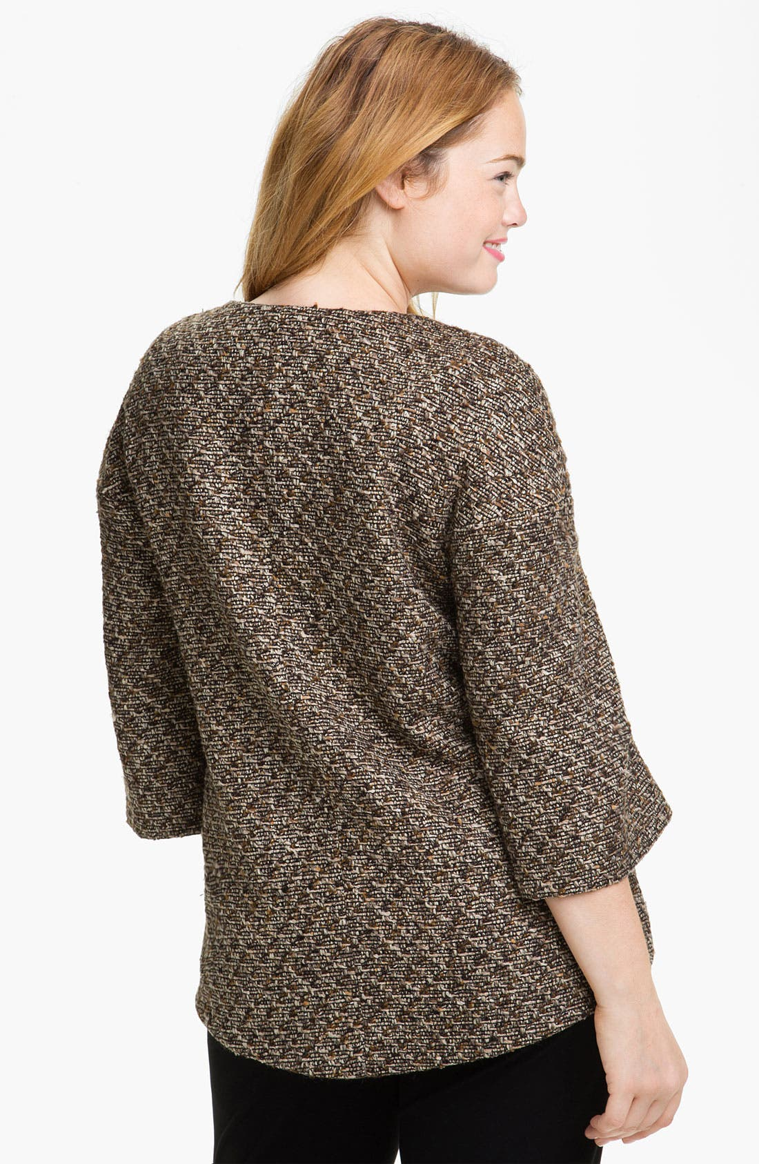 Alternate Image 2  - Louben Collarless Tweed Jacket (Plus)