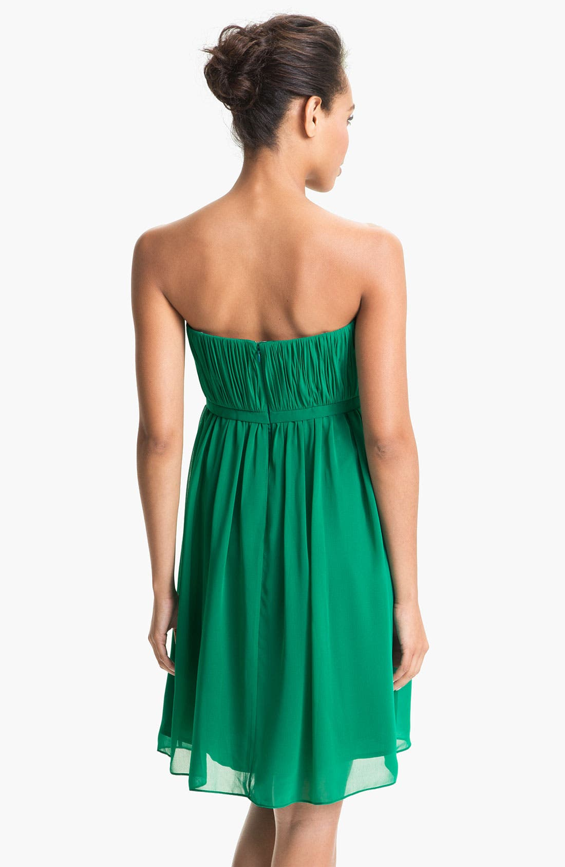Alternate Image 2  - Donna Morgan 'Lindsey' Pleated Sweetheart Neckline Chiffon Dress