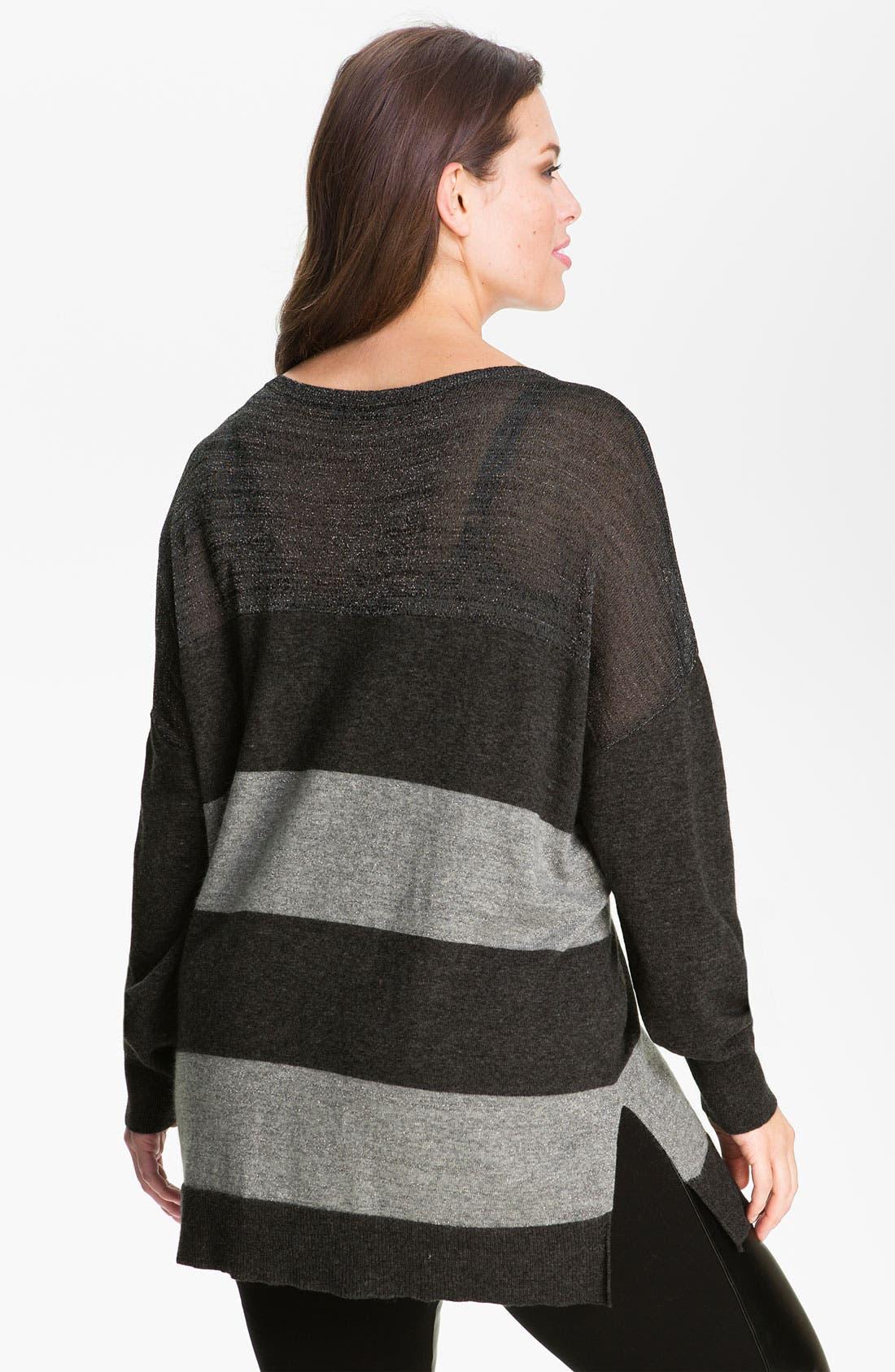 Alternate Image 2  - DKNYC Striped Metallic Sweater (Plus)