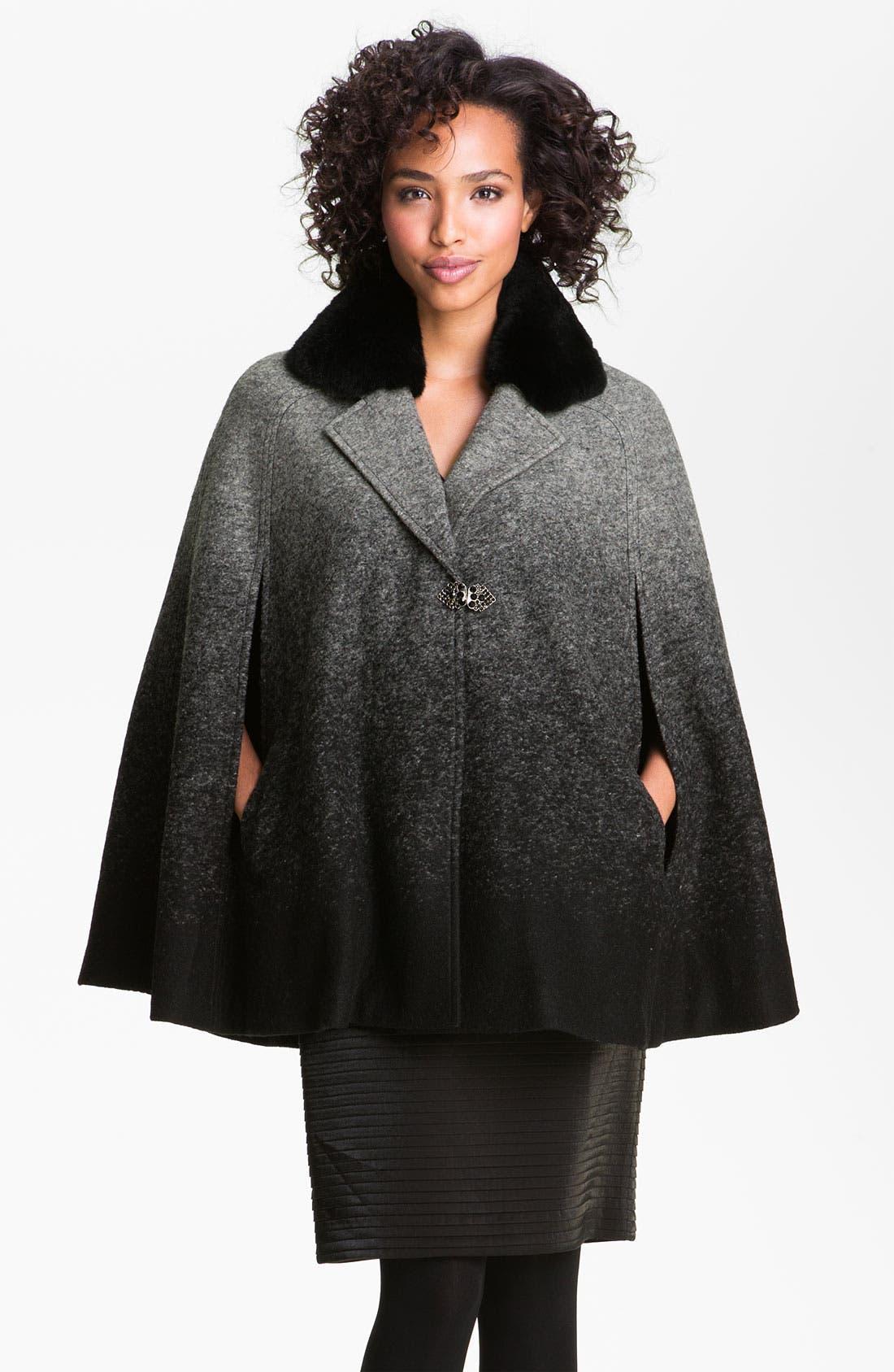 Alternate Image 1 Selected - Badgley Mischka 'Leigh' Genuine Rabbit Fur Collar Cape