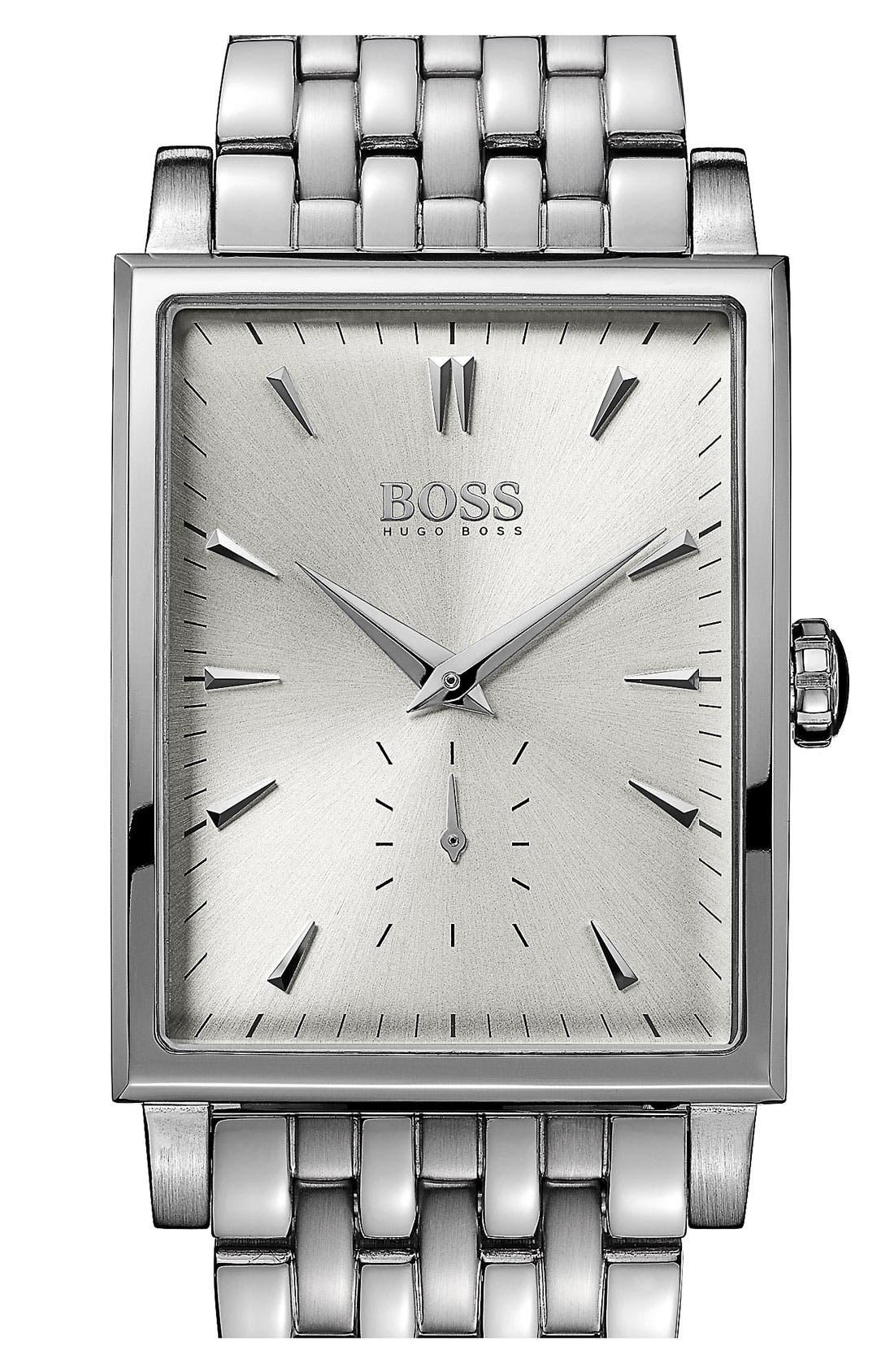 Alternate Image 1 Selected - BOSS HUGO BOSS Rectangular Bracelet Watch, 31mm x 39mm