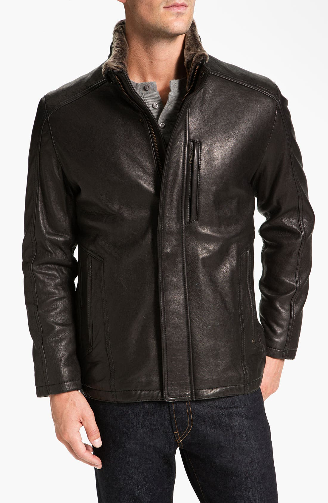 Main Image - Marc New York by Andrew Marc 'Noah' Leather Jacket with Genuine Shearling Trim