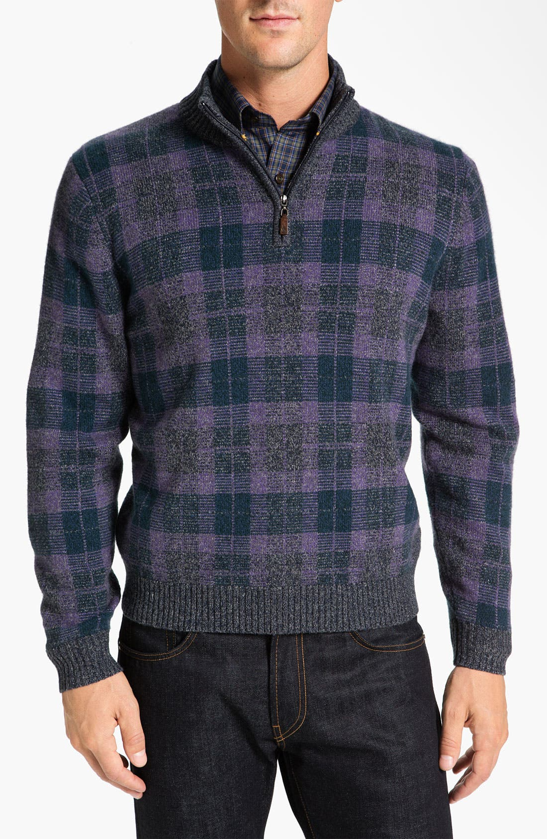 Main Image - Robert Talbott Half Zip Sweater
