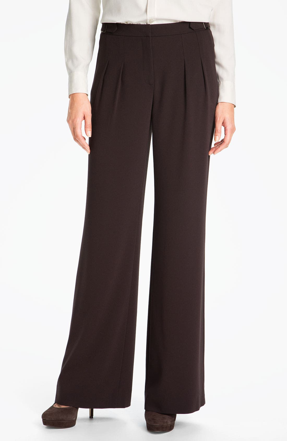 Main Image - Nordstrom Collection Wide Leg Crepe Pants