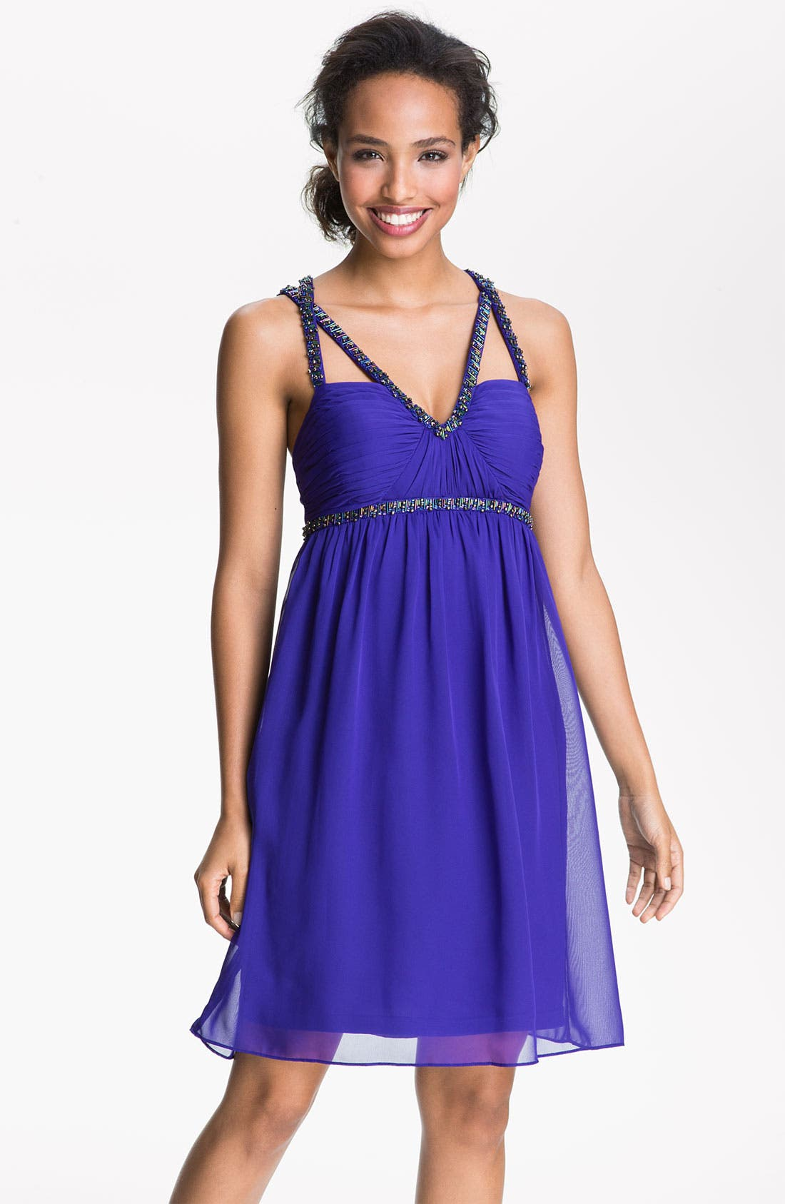 Alternate Image 1 Selected - Hailey by Adrianna Papell Beaded Cross Strap Chiffon Dress
