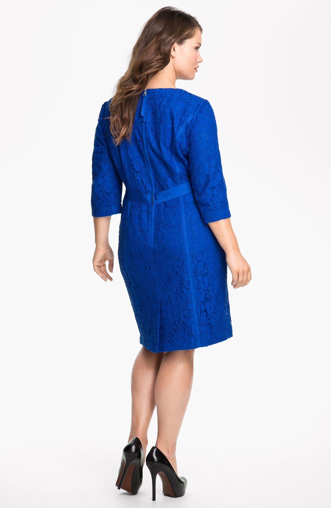 Alternate Image 2  - Taylor Dresses Long Sleeve Lace Dress (Plus)