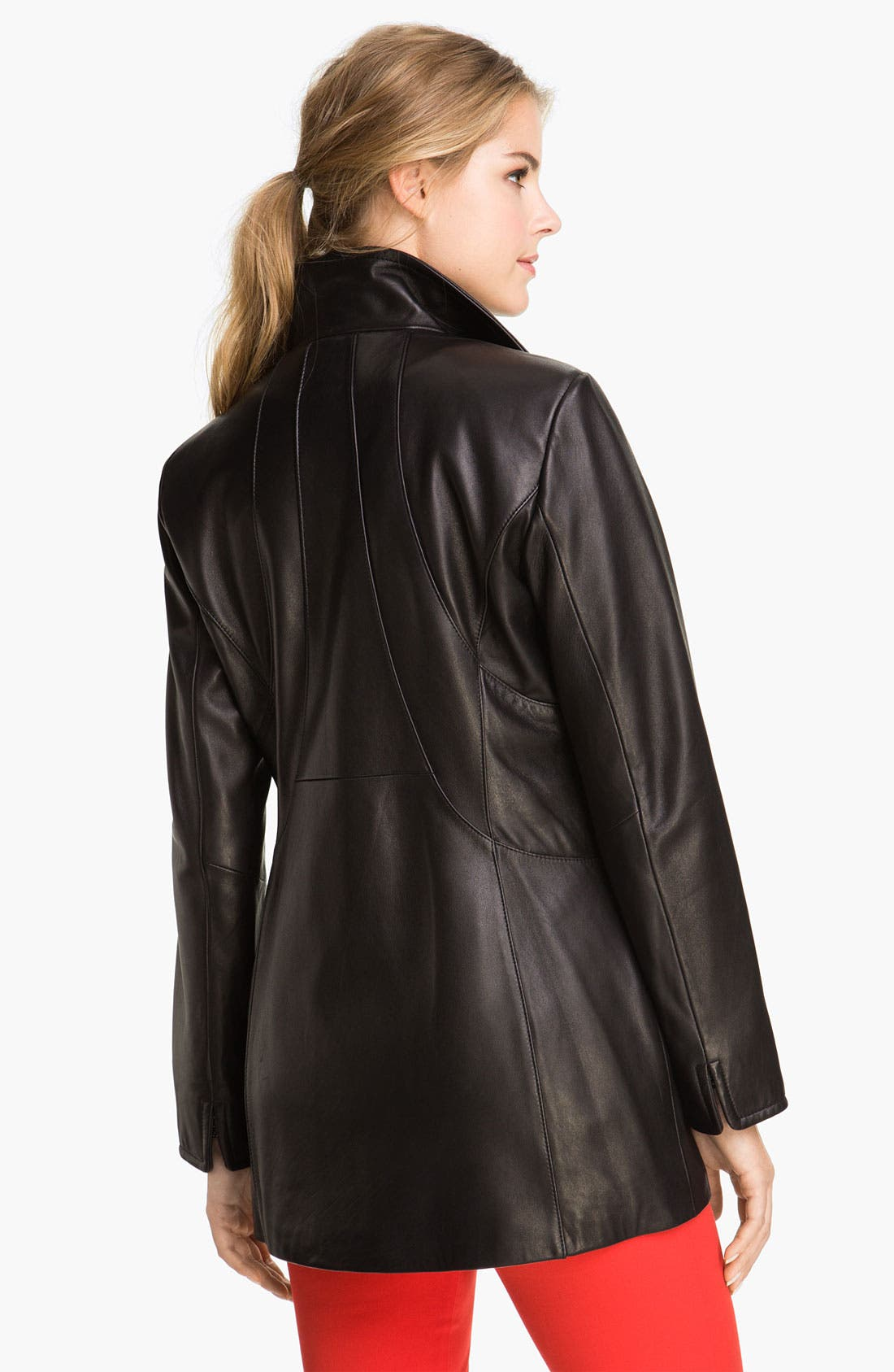 Alternate Image 2  - Ellen Tracy Stand Collar Leather Topper (Nordstrom Exclusive)