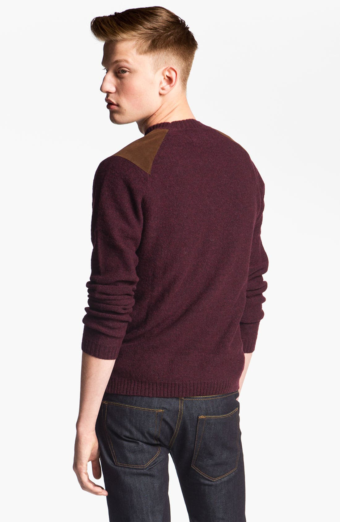Alternate Image 2  - Topman Cable Knit Crewneck Sweater