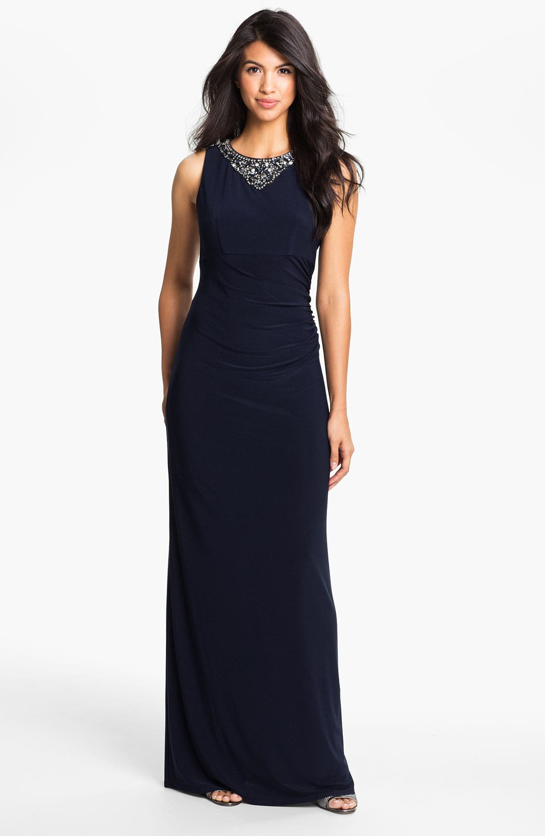 Alternate Image 1 Selected - Eliza J Embellished Neck Jersey Column Gown