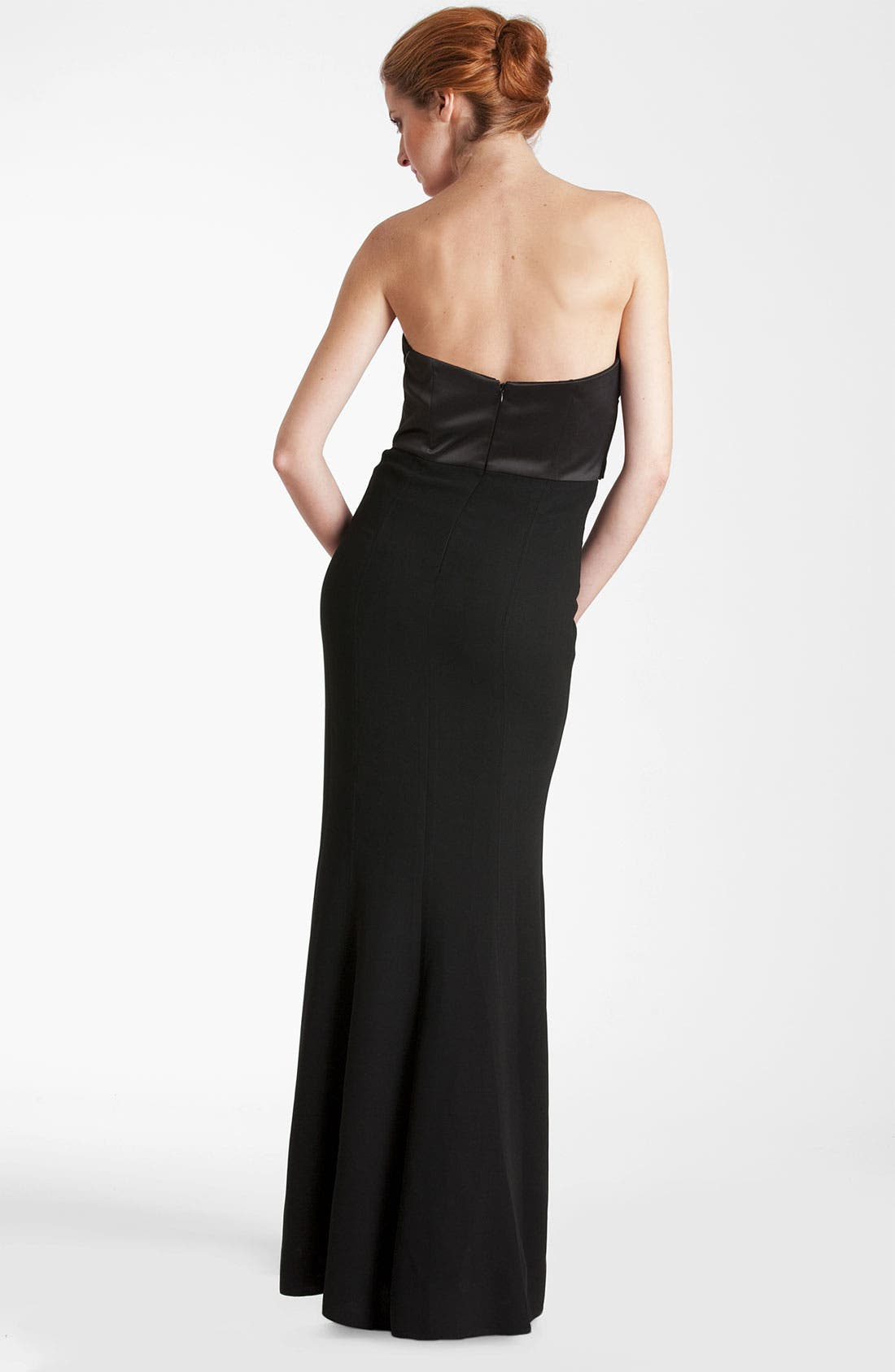 Alternate Image 2  - JS Collections Satin Bodice Crepe Trumpet Gown