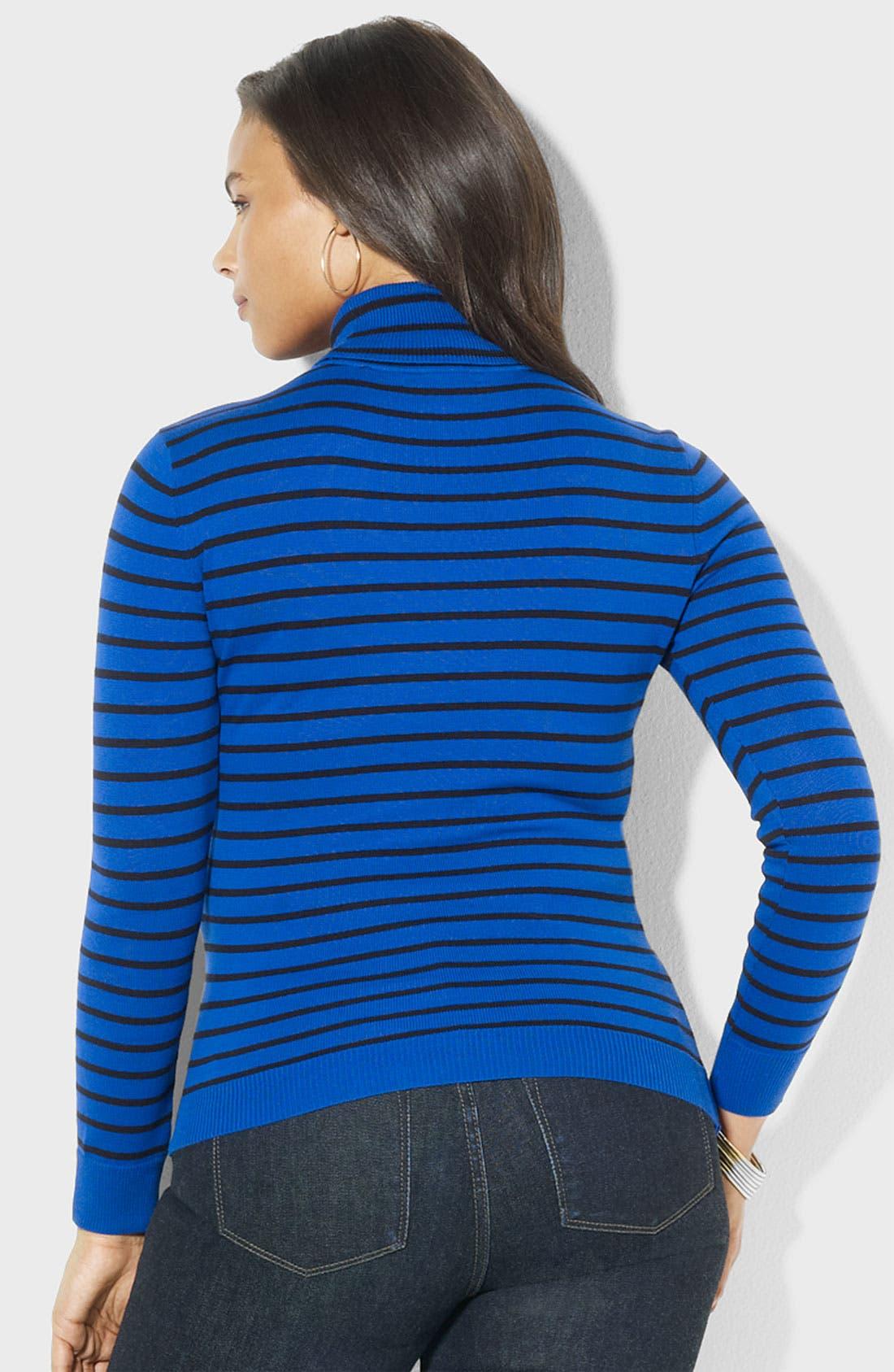 Alternate Image 2  - Lauren Ralph Lauren Stripe Turtleneck Sweater (Plus)