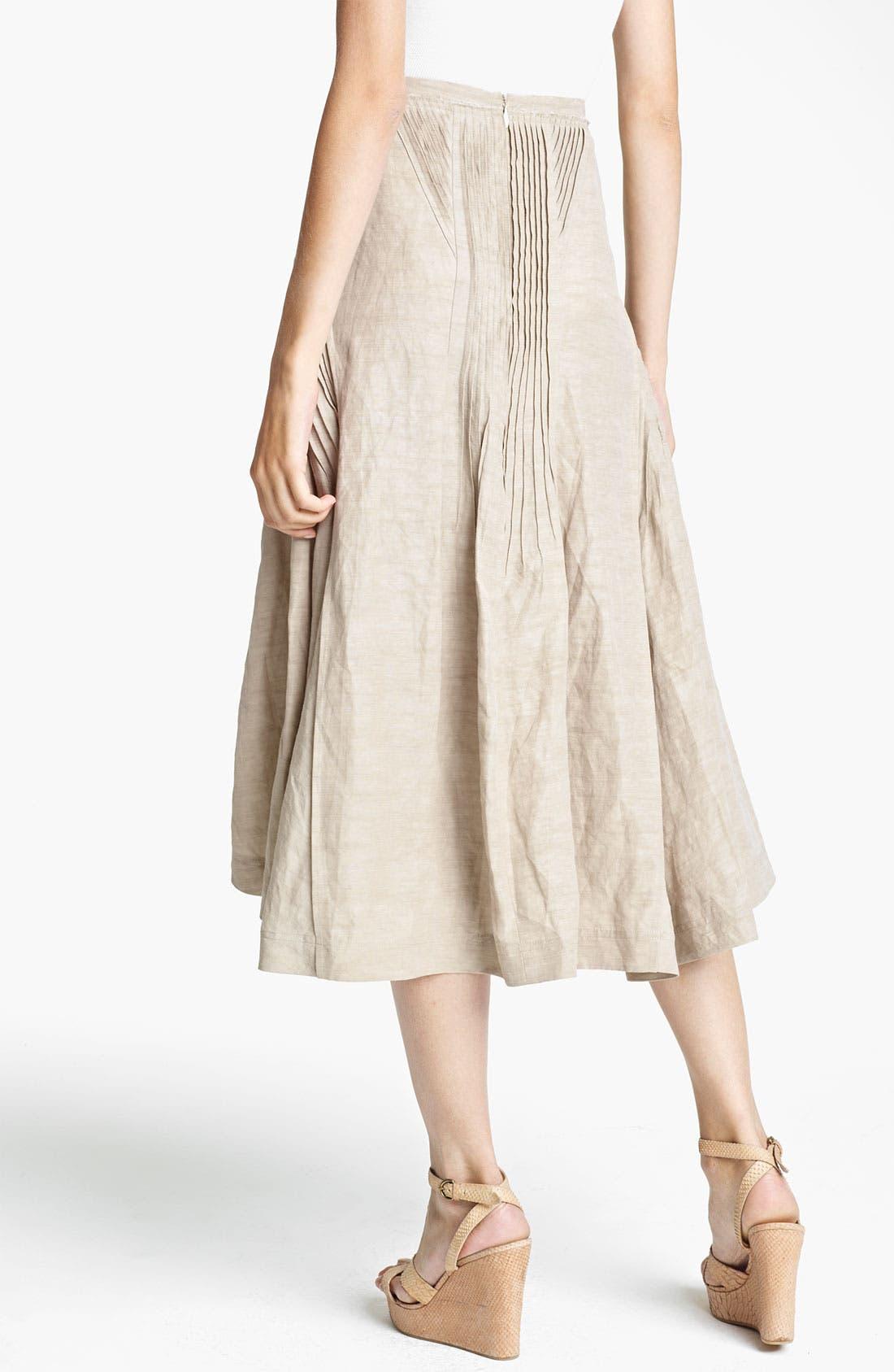 Alternate Image 2  - Donna Karan Collection Pintuck Linen Blend Skirt