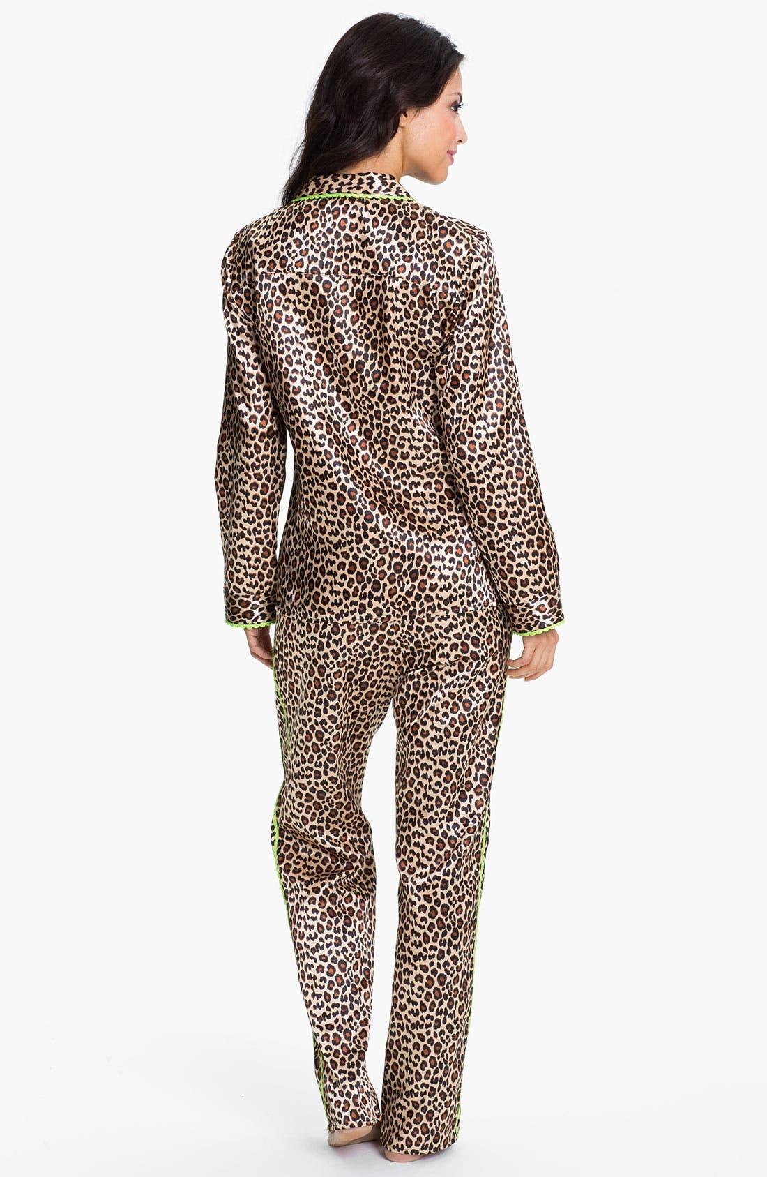 Alternate Image 2  - Betsey Johnson 'Cuddly Back Satin' Pajama Set